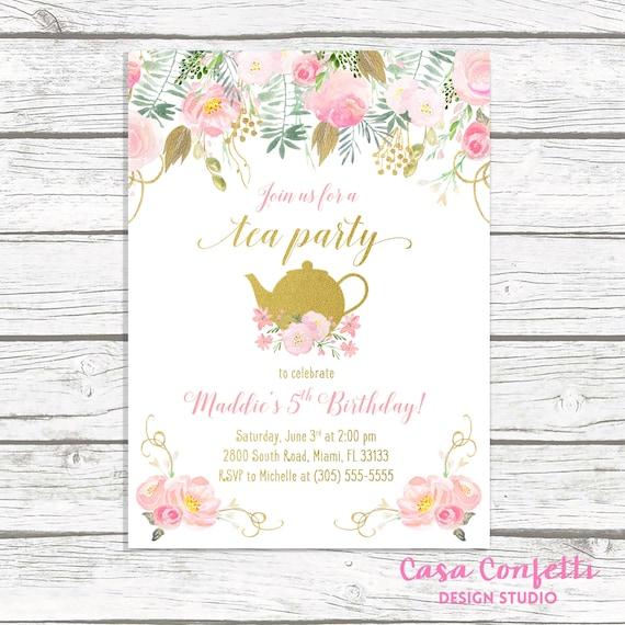 Tea party birthday invitation tea party invitation pink and gold il570xn filmwisefo