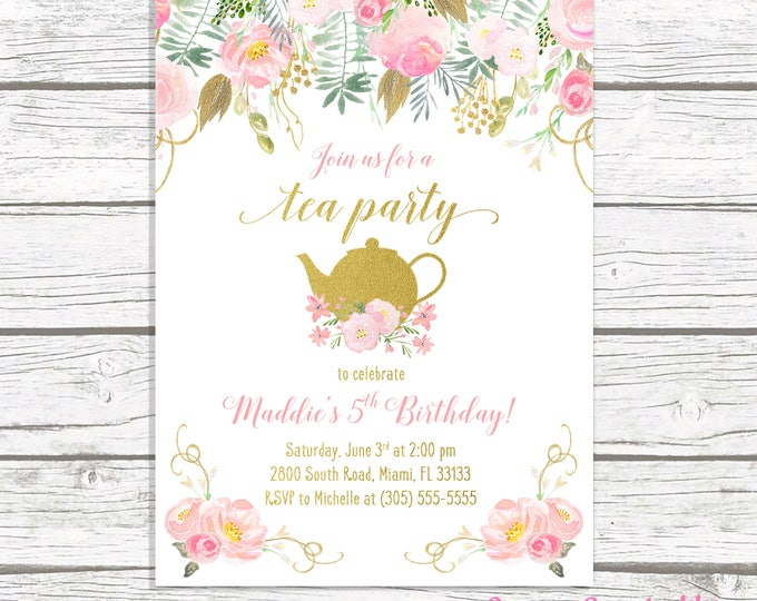 Tea Party Birthday Invitation, Tea Party Invitation, Pink and Gold Birthday Invitation, Girl 1st First Birthday Party Invitation Tea for Two