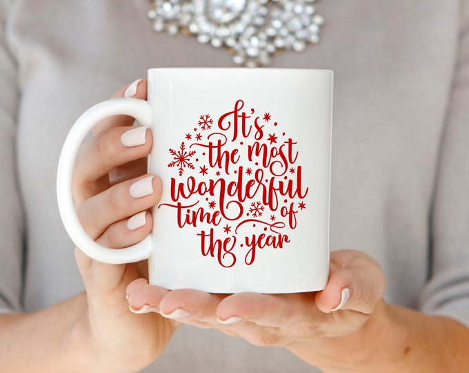 Christmas Mug, Christmas Gift, Red Christmas Mug, Holiday Mug, Hand Lettered Mug, Most Wonderful Time of the Year Mug, Christmas Coffee Mug