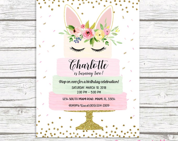Bunny Birthday Invitation, Bunny Invitation, Pink and Gold Bunny Birthday Invitation, Bunny Cake Girl 1st First Birthday Party Invitation