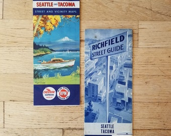 Pair of vintage Seattle gas station/roadmaps from the 1940's and 50's