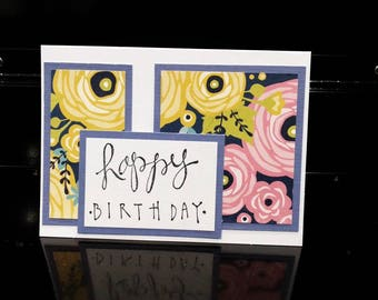 Floral Handmade Happy Birthday Card with Purple