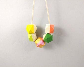 Geometric Necklace - Yellow, Green, Ombre | Statement Necklace | Gift for her | Geometric Jewellery | Tropical Necklace | Ombre necklace