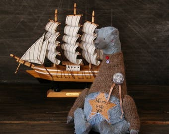 To order! Blue Teddy Bear - Take me to the sea - Handmade Toys Animals Nursery Decor - 8,5 Inch