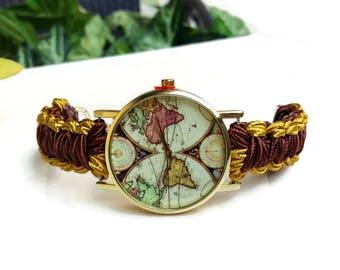 Globe watch etsy world map watch women world map wrist watch world map bracelet map jewelry gumiabroncs Images