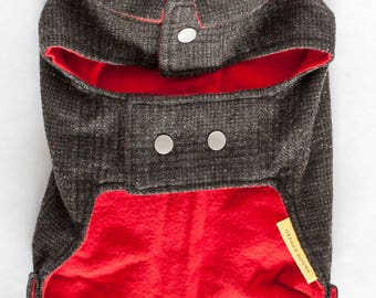 SM dog coat with collar // Classic jacket for a small dog in navy blue plaid wool with red flannel lining and snap closures