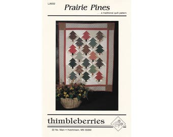 Prairie Pines quilt pattern by Thimbleberries, new and unused vintage traditional holiday quilting pattern, sewing, pine trees