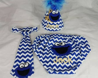 sesame street smash cake outfit-boy smash cake-blue smash cake outfit-cookie monster smash cake outfit-chevron smash cake outfit-birthday
