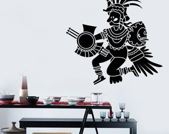 Wall Vinyl Decal  Warrior Combat Mayan Ammunition Decor for School and Study (#2721dn)