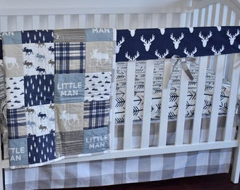 Moose Adventure Crib Bedding in navy and beige, modern nursery, quilt, woodland, boy nursery, hunting, mustard, charcoal, minky quilt