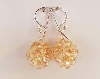 Swarovski, Golden shadow, Crystal Ball, woven, earrings