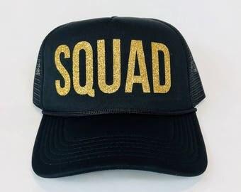 Squad Glitter Trucker Hat, Bachelorette Party Hats, Bachelorette Party, Bridesmaid Hats, Bridesmaid Gifts, Bridal Party Hats, Bridesmaid