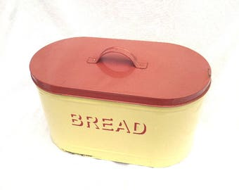 "Retro Metal Bread Bin, Circa 1950, Buttermilk Yellow, Dusty Pink Lid, Shadow Text, Excellent Vintage Condition, 15"" x 9.5"", Fab Oblong Shape"