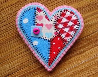 Fragmental Worn Heart Brooch Women gift Sliced heart Frankenstein heart pin Valentines day gift Patchwork heart Fabric heart gift for her