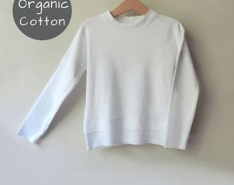 White Organic Sweatshirt, Boys Girls Sweatshirt, Toddler Sweatshirt, Baby Organic Sweater, Organic Kids Clothes, Super Sale - By PetitWild