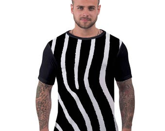 Zebra Print Sublimation  Animal Pattern T Shirt Hipster Ibiza Summer Holiday Gym Top