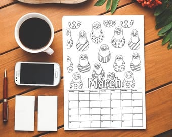Printable Coloring Calendar 2018 | Patterns | PDF Download