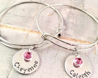 Personalized name bracelet, Name bracelet, Mother daughter, Swarovski birthstone, adjustable bangle, Mother's Day, Sorority, Big Little Sis