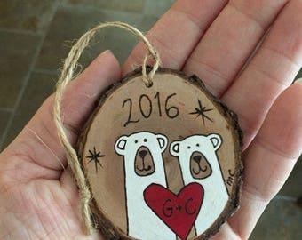 Personalized polar bear ornament, wood Christmas ornament, wedding engagement ornament, anniversary gift, wood burning, holiday ornament