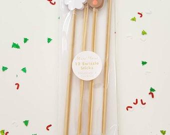 Meri Meri Christmas swizzle sticks. Christmas cupcake topper. Christmas party decor. Christmas tableware. Christmas party. Santa toppers