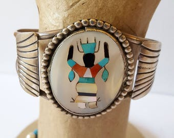 Vintage Sterling Silver Native American Mother of Pearl Inlay Cuff  1970's