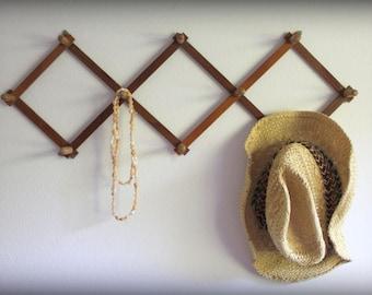 Vintage Solid Wood Accordian Peg Rack Wall Hook