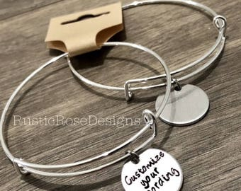 SET OF 10 - Customize your own bangle charm bracelets / Company gift / Client merchandise / promotional products jewelry / Design your own