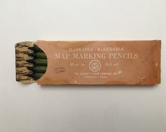 Vintage box of map marking pencils, map marking pencils, vintage box of pencils, George F Kram Co., vintage grease pencils