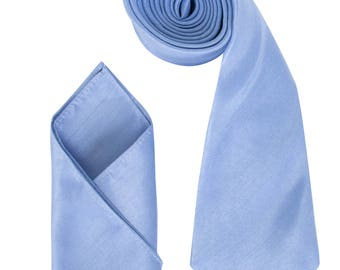 Mens Sky Blue Luxury Dupion Neck Tie with matching Pocket Square