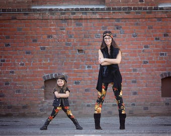 Amber Roses Mommy and Me Leggings, Mommy and Me Outfits, Mother & Daughter Matching Outfit, Baby Leggings, Girls Leggings, Ladies Tights