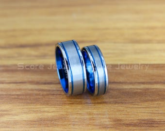 FREE SHIPPING Custom Engravd Silver Tungsten Wedding Bands Silver Tungsten Wedding Rings 8mm&6mm Tungsten Bands with Two Blue Center Grooves