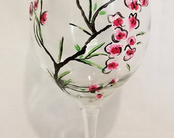 Cherry Blossom Branch Wine Glasses (Two)