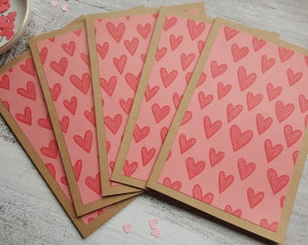 Heart Note Cards //  Set of 5 // Blank Note Cards // Heart Stationery // Note Card Set // Valentine's Day Cards //