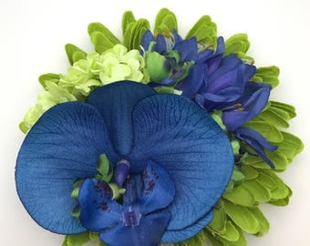 Handmade Tropical Style Blue Orchid & Nerine Hair flower Clip