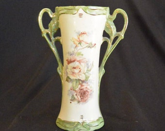Vintage Porcelain Bud Vase, with Handles; Green and Cream with Roses and Gold Trim
