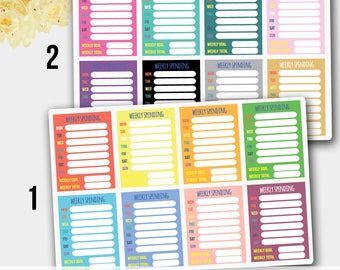 Weekly Spending Stickers in Purple Blue Colors for Erin Condren and other Life Planners