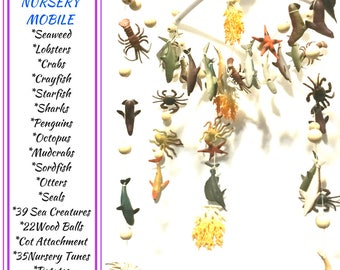 Sea Creatures Complete Cot Mobile, Marine Nursery Decor, 35 Tune Lullaby's and Cot Attachment all Included! Unique style Gift,