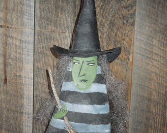 Winifred Witch with Broom Soft Sculpture Doll Gray White stripe