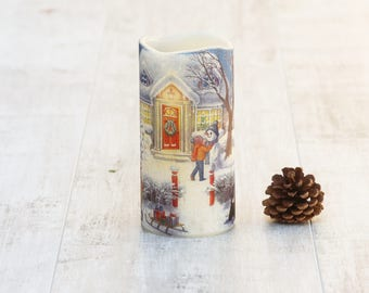 Christmas LED Candle, Christmas Decoration, Christmas Candle, Winter Decor, Snowman Decor, Snowman Candle, Snowman Decoration, LED Snowman