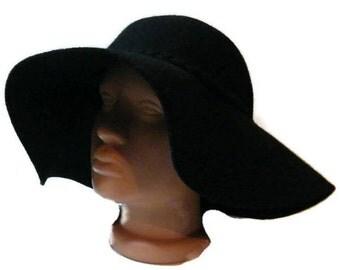Vintage black Cloche hat bowler hat woolen bucket hats felt Slouchy Hat Women's broad-brimmed hat  floppy hat Wide Brim Hat