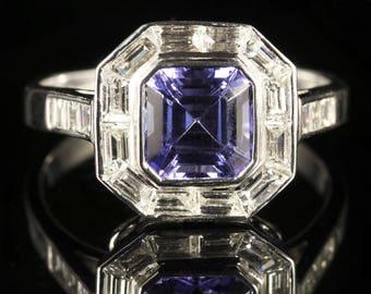 Tanzanite Diamond Ring Baguette Cut Diamonds 18ct Gold