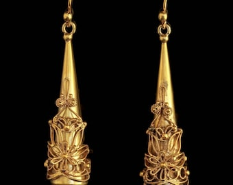Antique Georgian Large 18ct Gold on Silver Earrings