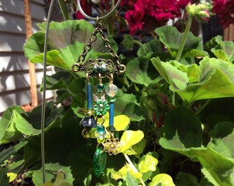Green and Teal  Garden Fairy Wind Chime with Vintage Jewelry Pieces - Fairy Garden Accessory