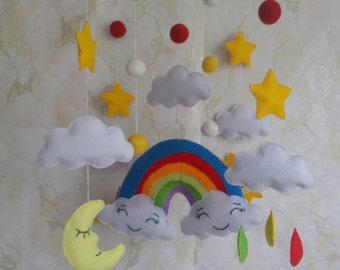 Baby crib mobile Rainbow,Clouds mobile,Moon mobile,Cot mobile,Sun Stars mobile,Baby shower,gift Nursery decor,custom mobile