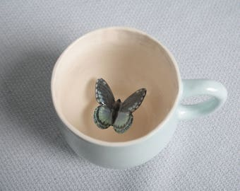 Mug ceramic light blue tea cup with black butterfly - tiled insect animal figurine miniature surprise