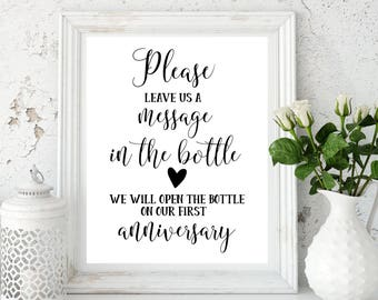 Wedding Guestbook Message in a Bottle Guest Book Message in Bottle Sign Wedding Guestbook Sign Message in a Bottle Wedding decor idwm100