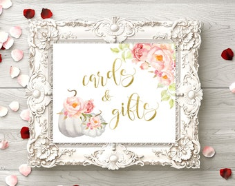Cards and Gifts White pumpkin Baby Shower sign Bridal Shower Cards and Gifts sign printable  Wedding decor wedding instant download idwr32