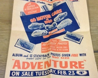 "Vintage Magazine Advertising Flyer For ""Adventure"" Boys Magazine. Dated To February 1960."