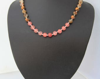 Cherry Quartz and Silver Necklace