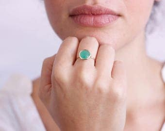 Chrysoprase Ring, Gold Gemstone Ring, Green Gemstone Ring, Green Stacking Ring, Solitaire Gold Ring, Mothers Day Gift, 14K Gold Ring, GR0229